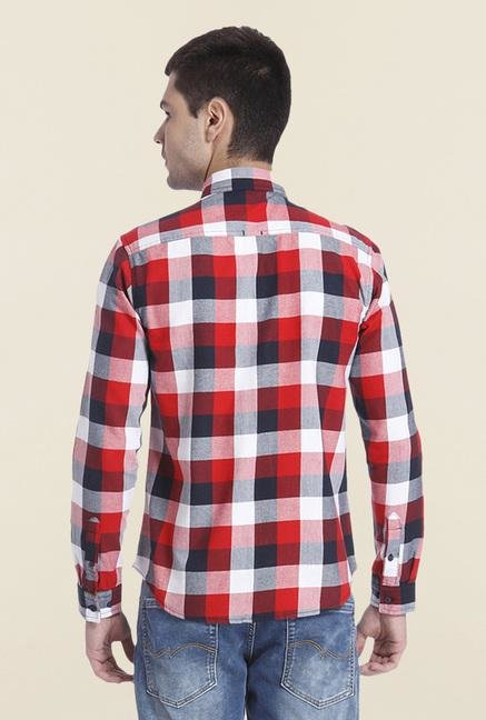 Jack & Jones Red Checks Slim Fit Shirt
