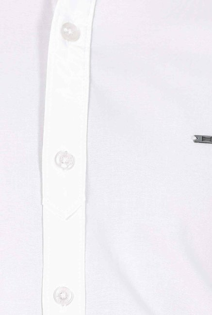 Basics White Cotton Casual Shirt