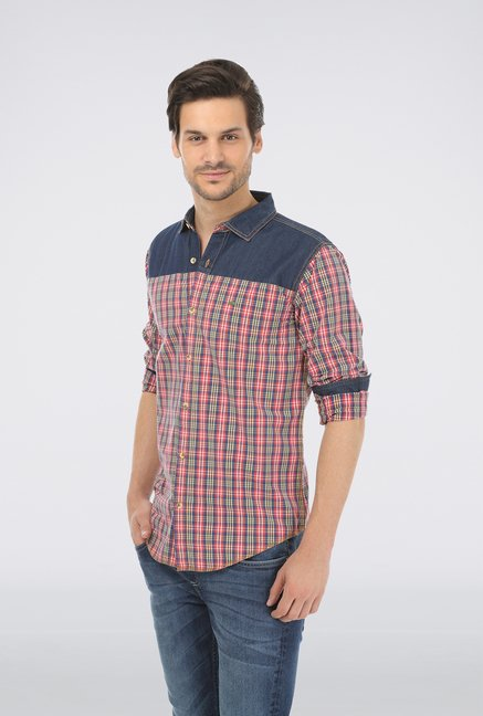 Basics Red Cotton Checked Shirt