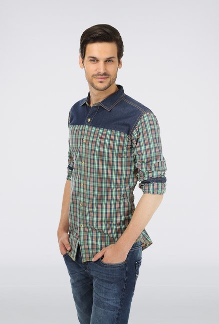 Basics Green Cotton Checked Shirt