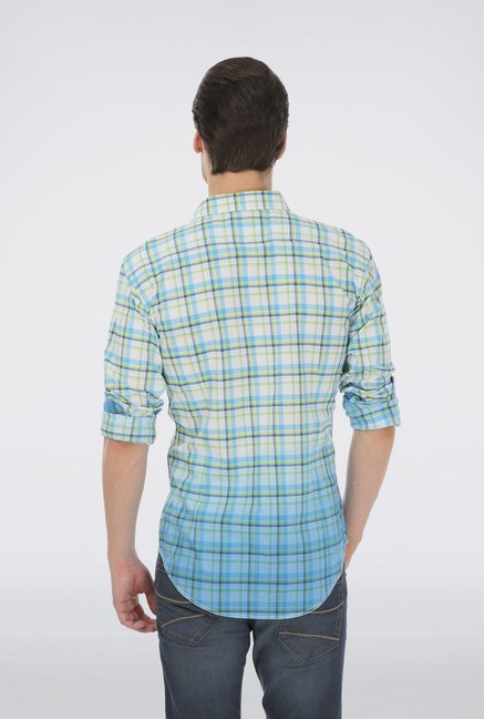 Basics Blue Cotton Checked Shirt
