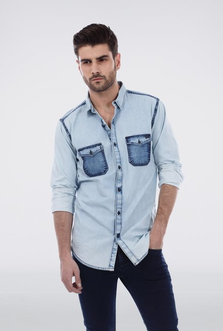 Basics Light Blue Denim Shirt