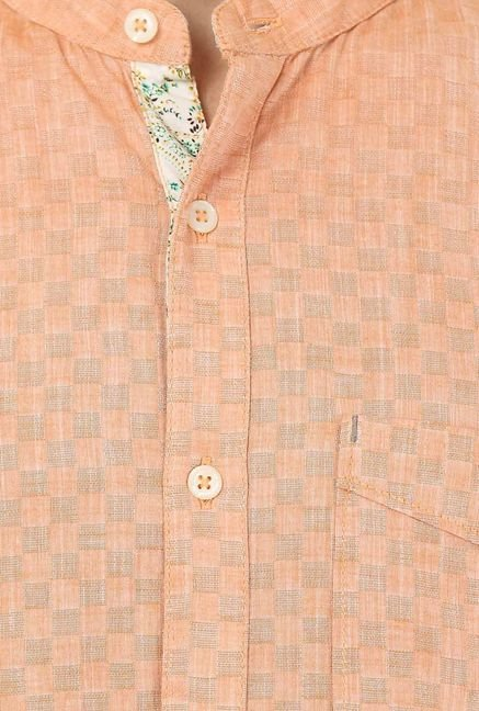 Basics Orange Cotton Casual Shirt