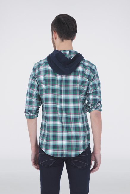 Basics Green Checkered Hood Shirt