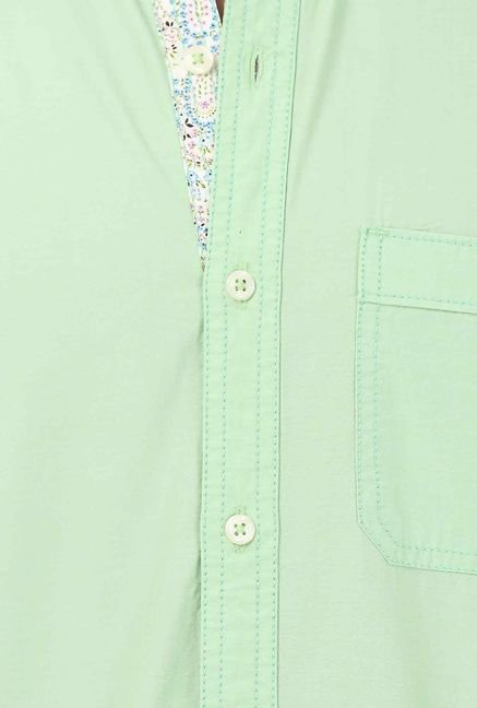 Basics Green Cotton Casual Shirt