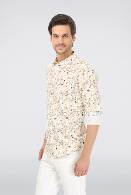 Basics Brown Printed Linen Shirt