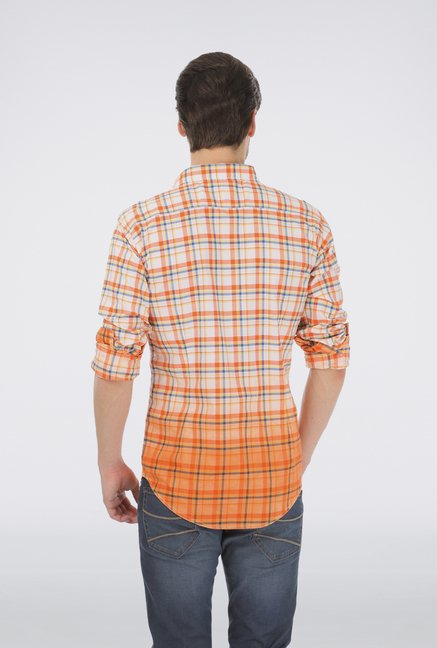 Basics Orange Checkered Shirt