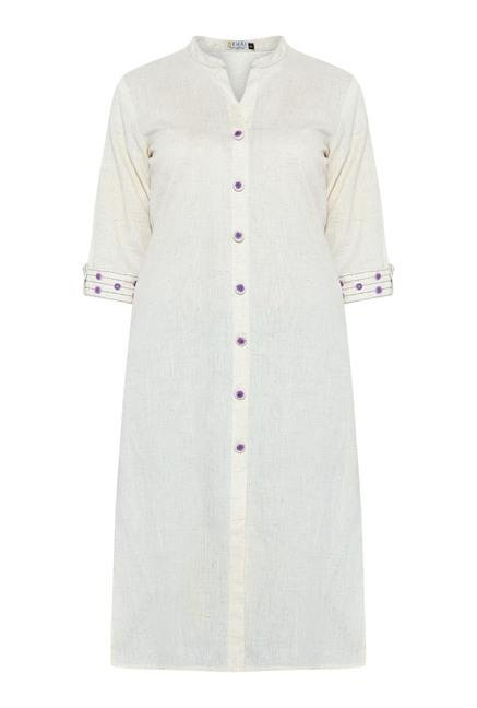 Okhai Ecru Cotton Solid Kurta