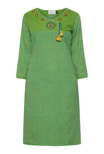 Okhai Green Pinstriped Printed Kurta