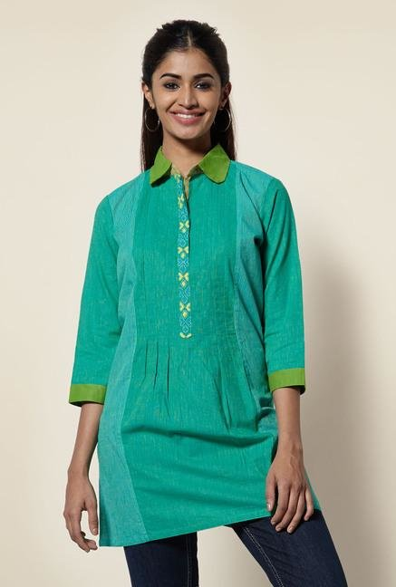 Okhai Green Cotton Pinstriped Kurti