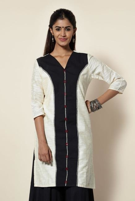 Okhai Off White Chanderi Kurta