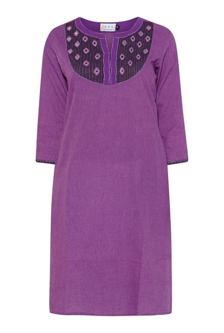 Okhai Purple Pinstriped Kurta