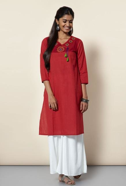 Okhai Red Pinstriped Kurta