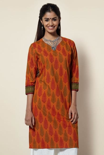 Okhai Rust Printed Cotton Kurta