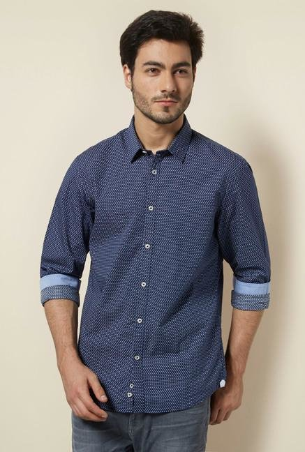 celio* Blue Printed Casual Shirt