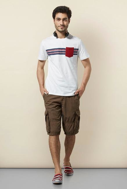 celio* Brown Cotton Bermuda Shorts