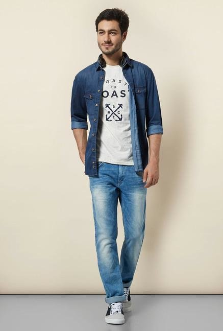 celio* Off-White Printed T-Shirt