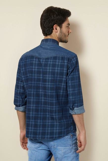 celio* Indigo Checked Regular Fit Shirt