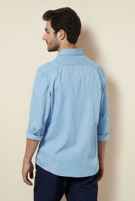 celio* Light Blue Solid Cotton Shirt
