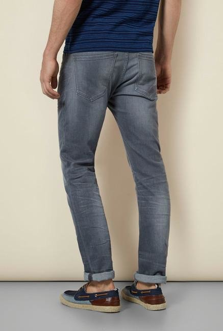 celio* Grey Monkey Wash Slim Fit Jeans