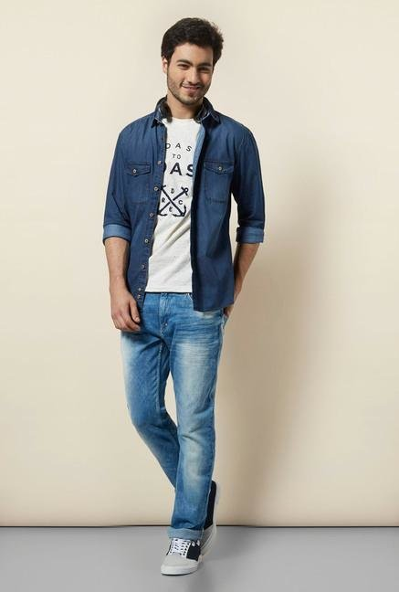 celio* Indigo Self Printed Casual Shirt