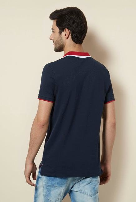 celio* Navy Cotton Polo T-Shirt
