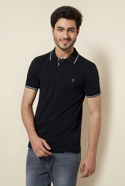 celio* Black Solid Polo T-Shirt