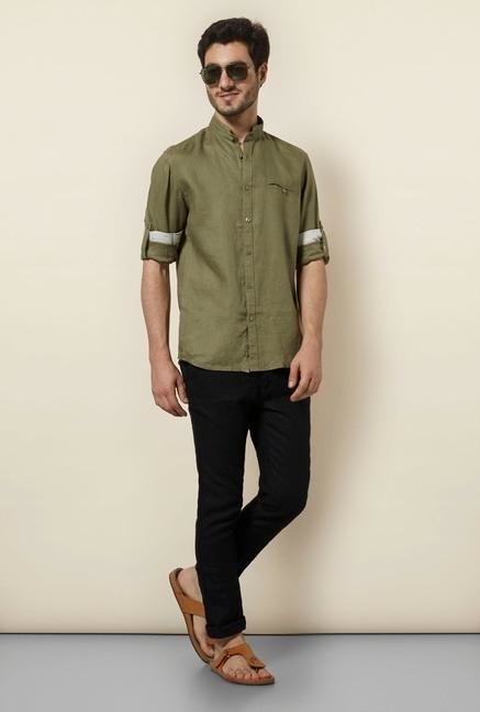 celio* Olive Green Solid Shirt