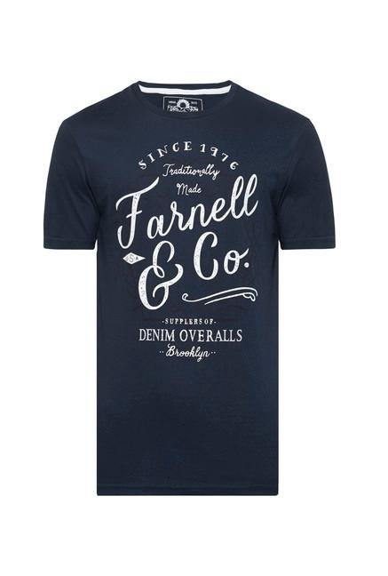 celio* Navy Printed Cotton T-Shirt