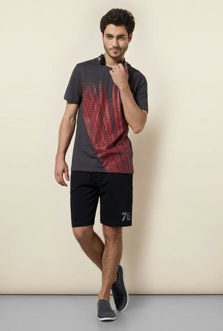 celio* Charcoal Abstract Print T-Shirt