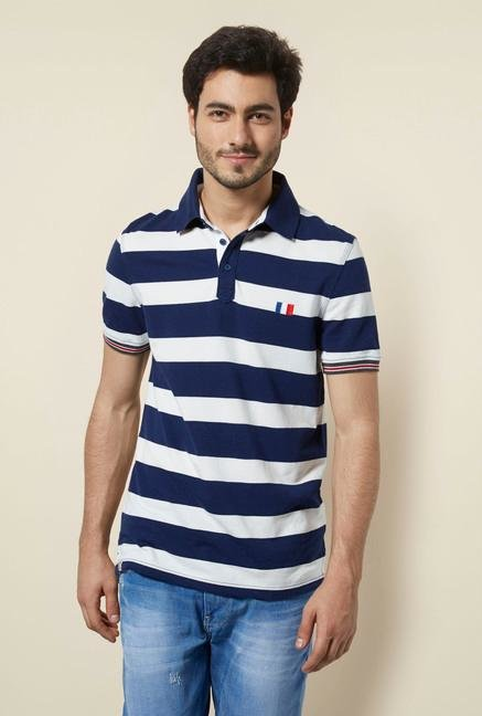 celio* White & Navy Striped Polo T-Shirt