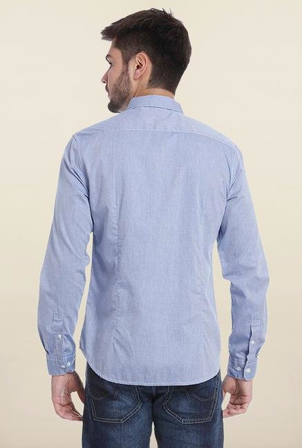 Jack & Jones Light Blue Solid Casual Shirt