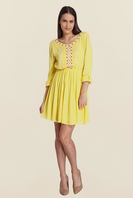 Vero Moda Yellow Embroidered Dress