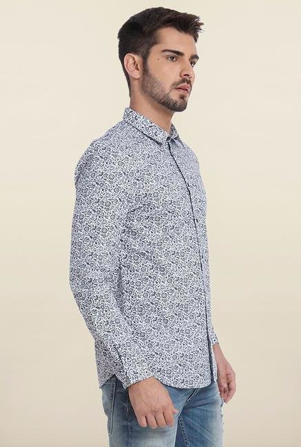 Jack & Jones White And Navy Printed Casual Shirt
