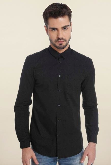 Jack & Jones Black Self Printed Casual Shirt