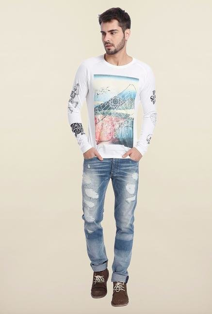 Jack & Jones White Graphic Full Sleeves T Shirt
