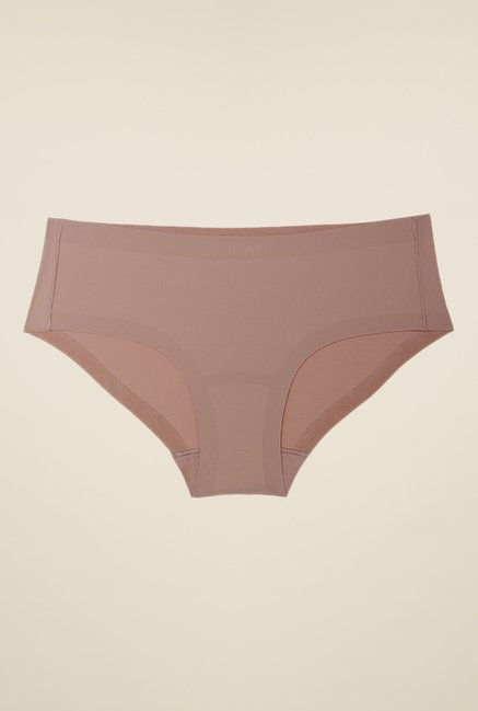 Amante Beige Solid Hipster Panty