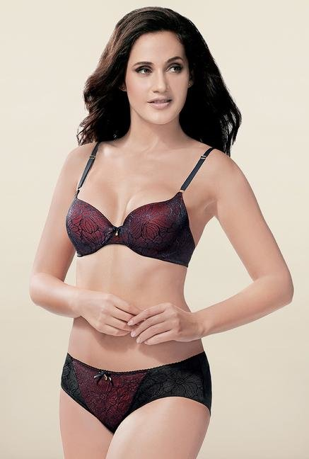 Amante Wine Red & Black Lace Hipster Panty