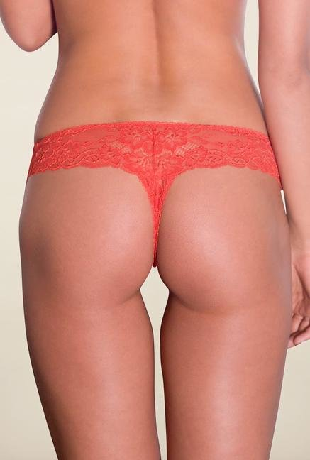 Amante Orange Lace Thong