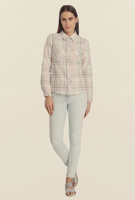 Vero Moda Beige Checks Shirt