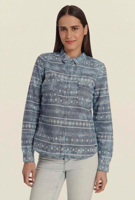 Vero Moda Blue Denim Printed Shirt