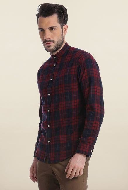 Jack & Jones Navy And Maroon Checks Casual Shirt