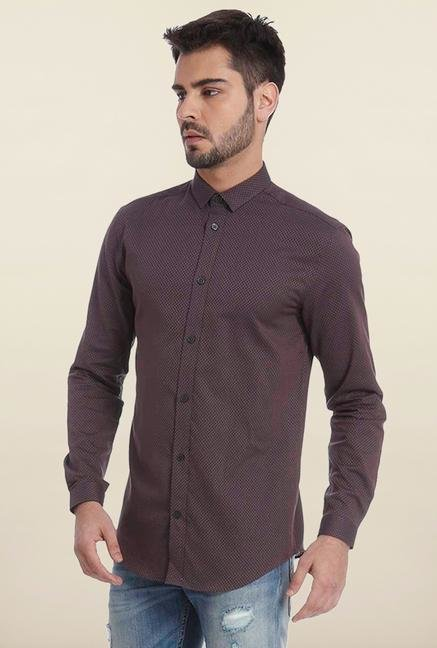Jack & Jones Maroon Self Printed Casual Shirt
