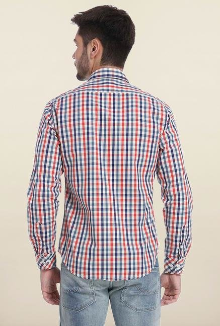 Jack & Jones Blue And Red Checks Casual Shirt