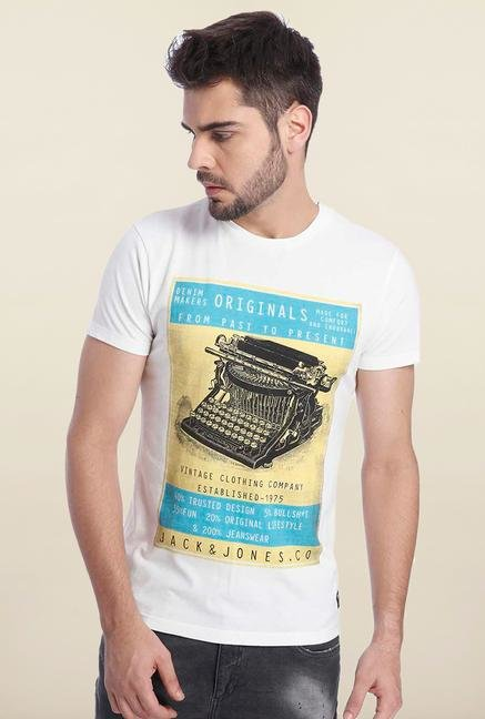 Jack & Jones White Vintage Graphic Print T Shirt