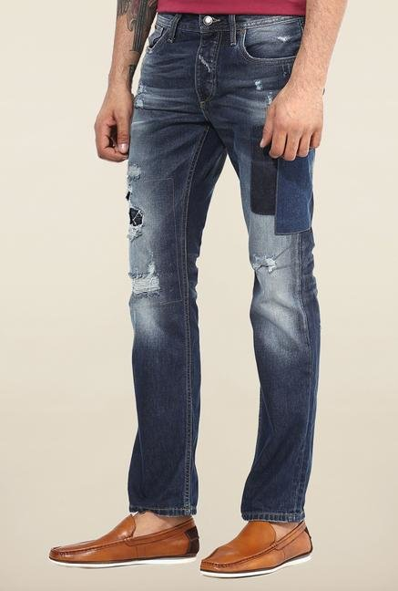 Jack & Jones Blue Tattered Jeans
