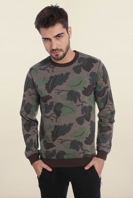 Jack & Jones Brown Camo Crew Neck Sweatshirt