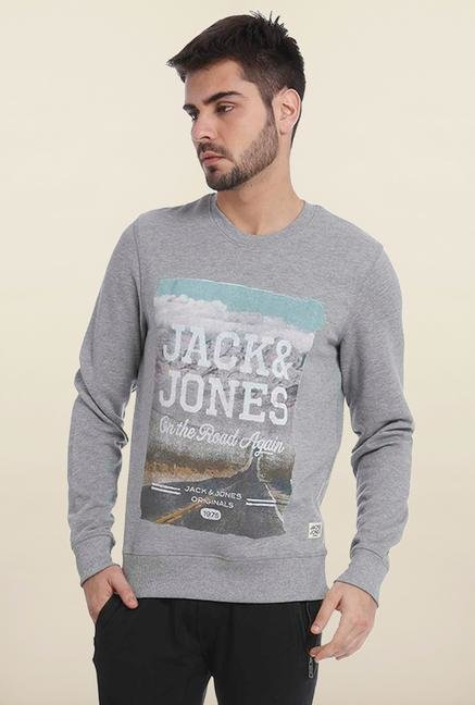 Jack & Jones Light Grey Graphic Print Sweatshirt