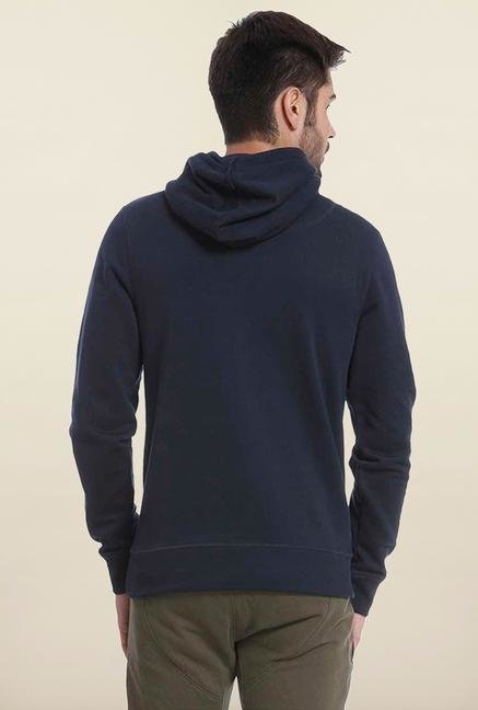 Jack & Jones Navy Graphic Printed Hoodie