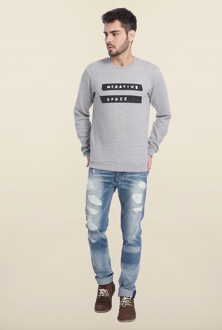 Jack & Jones Grey Solid Sweatshirt